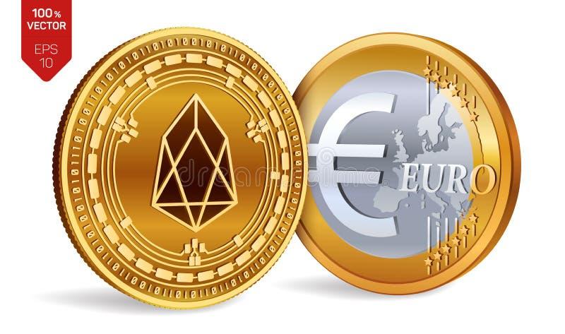 EOS Euro pièce de monnaie pièces de monnaie 3D physiques isométriques Devise de Digital Cryptocurrency Pièces de monnaie d'or ave illustration stock
