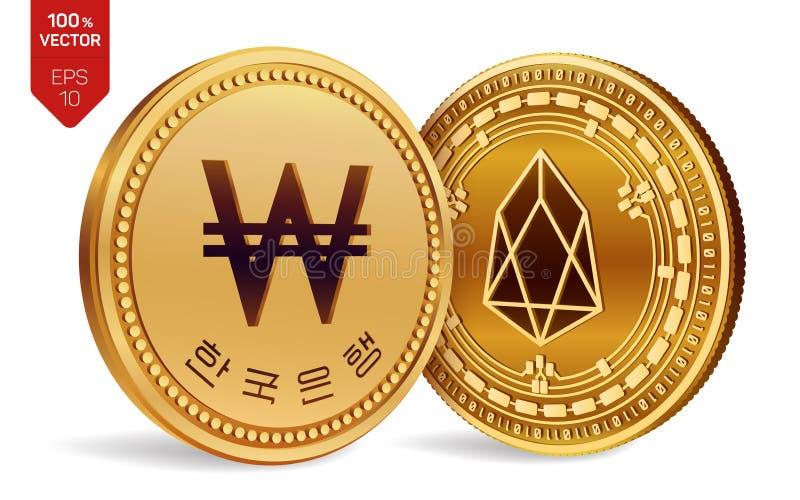 EOS gagné pièces de monnaie 3D physiques isométriques Devise de Digital La Corée a gagné la pièce de monnaie Cryptocurrency Pièce illustration de vecteur