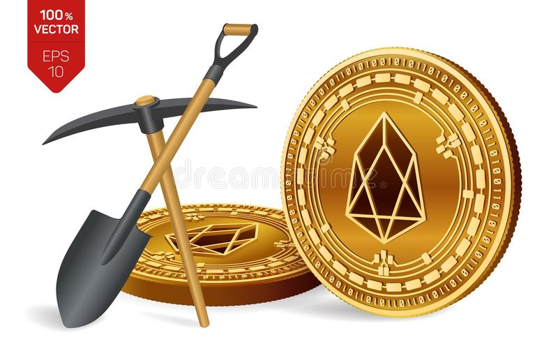 EOS mining concept. 3D isometric Physical bit coin with pickaxe and shovel. Digital currency. Cryptocurrency. Golden EOS coins iso royalty free illustration
