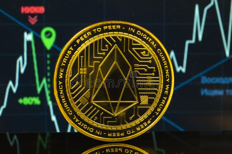 EOS is a modern way of exchange and this crypto currency. Is a convenient means of payment in the financial stock photography