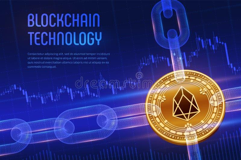 EOS Valuta cripto Catena di blocco moneta dorata fisica isometrica di EOS 3D con la catena del wireframe su finanziario blu illustrazione di stock