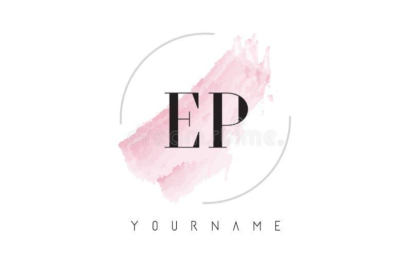 EP E P Watercolor Letter Logo Design with Circular Brush Pattern stock illustration