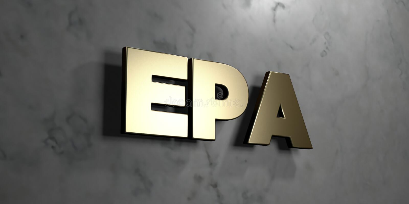 Epa - Gold sign mounted on glossy marble wall - 3D rendered royalty free stock illustration vector illustration