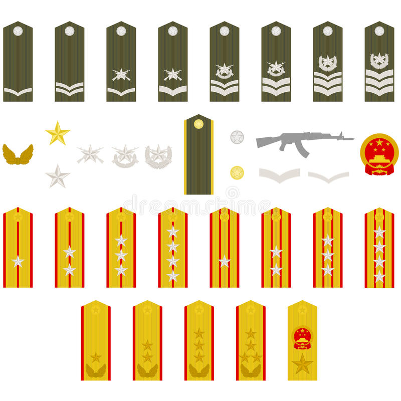 Download Epaulets Chinese army stock vector. Illustration of drawing - 27329178