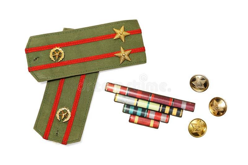 Epaulettes, κορδέλλα μεταλλίων και κουμπιά διανυσματική απεικόνιση