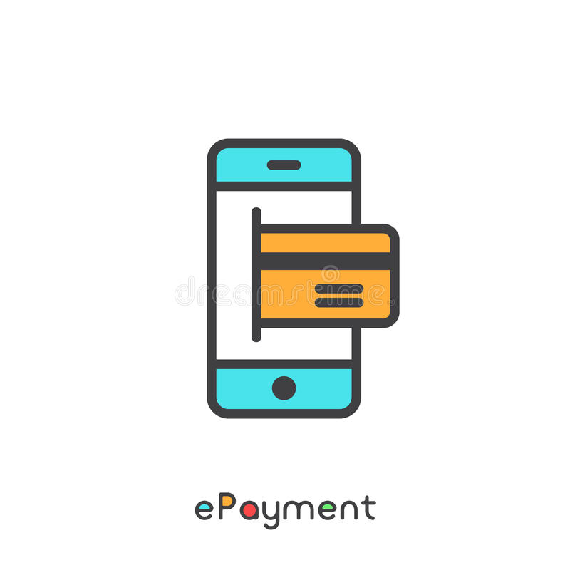 EPayment and Electronic Payment Mobile Device with Card Internet Shopping. Vector Simple Icon royalty free illustration