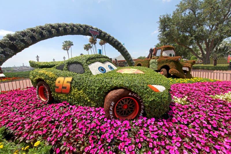 Epcot blomma- och trädgårdfestivalbilar arkivfoton