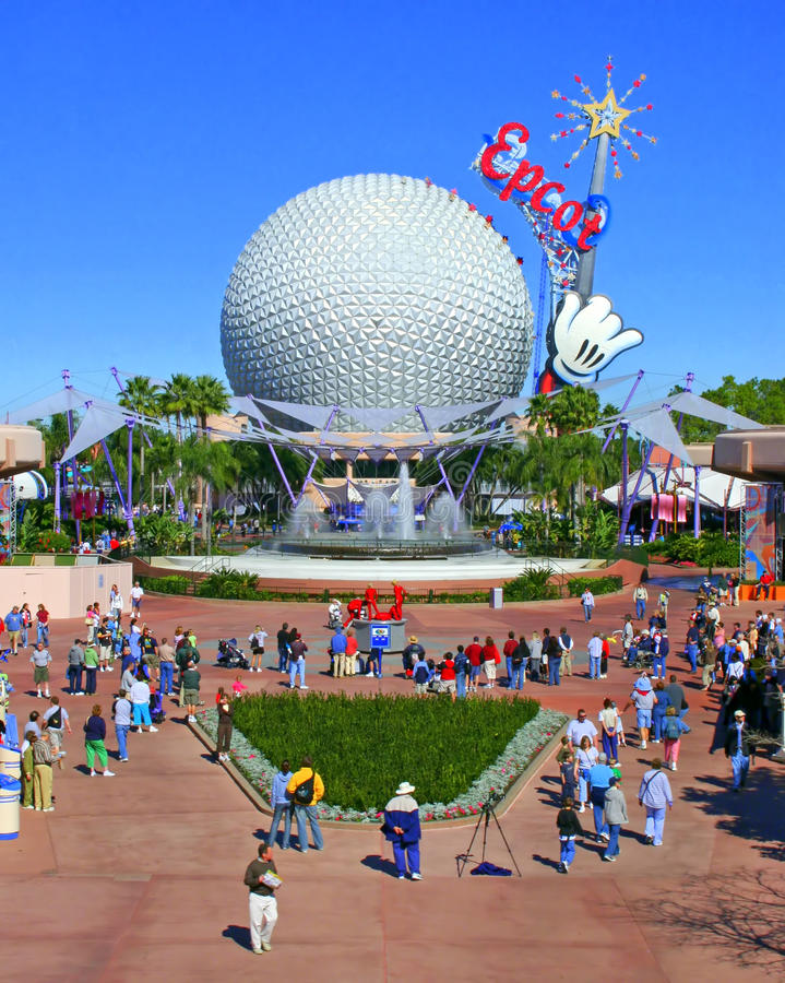 Epcot. ORLANDO, FLORIDA - January 31, 2006 - A view of Epcot including Spaceship Earth from the monorail royalty free stock image