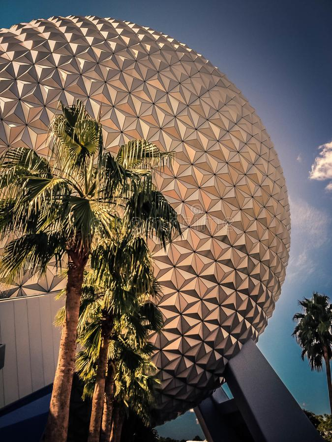 Epcot Spaceship Earth With Palm Trees stock images