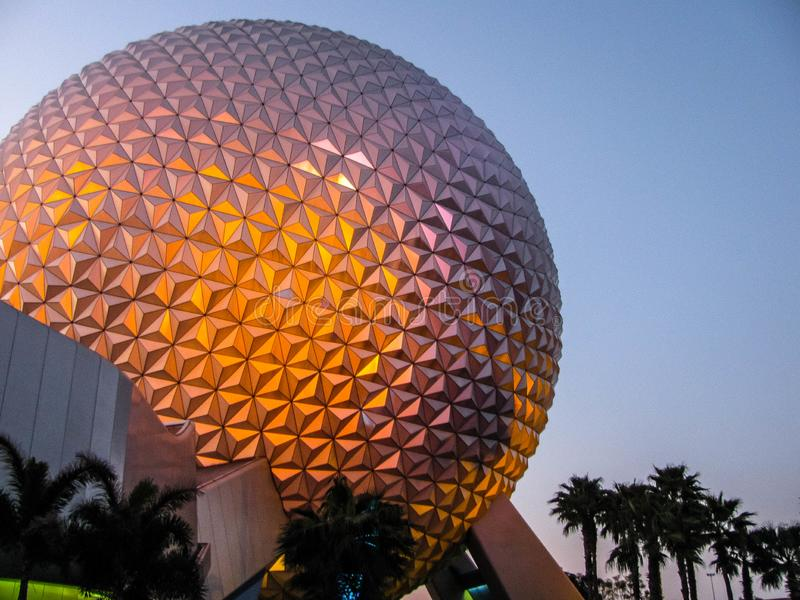 Epcot Spaceship Earth at Sunset royalty free stock photography