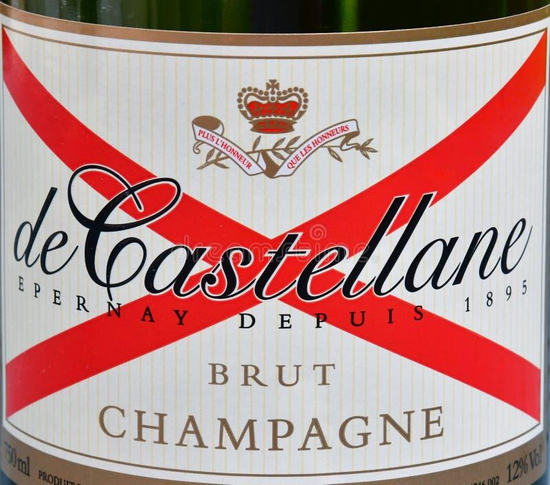 Epernay, Frankreich - 30. Juli 2016: Flasche von de Castellane Champag lizenzfreies stockfoto