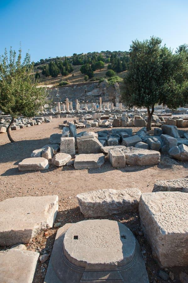 Руины древнего города Ephesus, города древнегреческого в Турции, в красивом летнем дне стоковые фото
