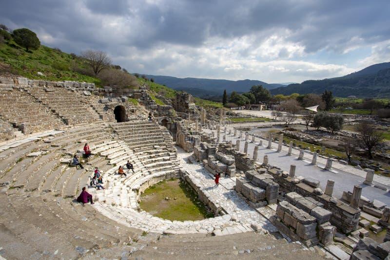 Ephesus dziejowy antyczny miasto Selcuk, Izmir, Turcja/ zdjęcie stock