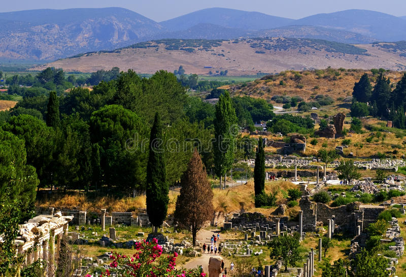 Ephesus Hillside and Ruins, Turkey stock photo