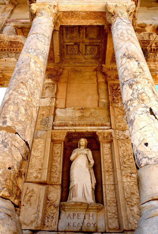 Ephesus Library. Details of the Greek library in Ephesus, today's Turkey royalty free stock image