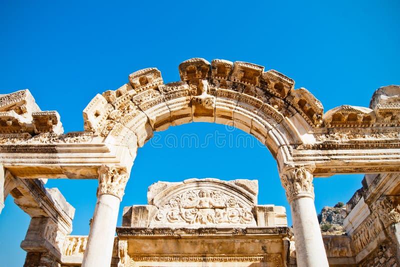 Ephesus overspannen deuropening stock fotografie