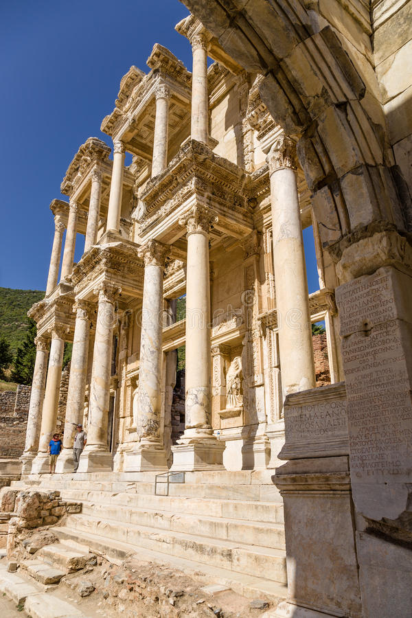 Ephesus, Turkey. View of the facade of Celsius Library, 114 - 135 years AD out of the gate of the Emperor Augustus. The library of Celsus is an ancient Roman stock photography