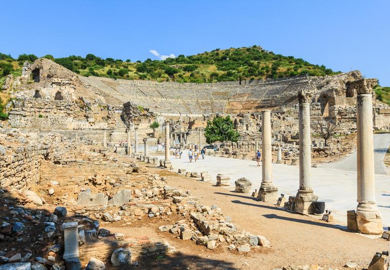 Ephesusstadion, ruïnes stock foto