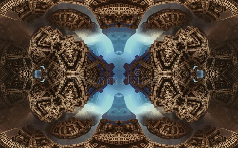 Epic abstract fantastic poster or background. Futuristic view from inside of the fractal. Pattern in form of arrows. stock photos