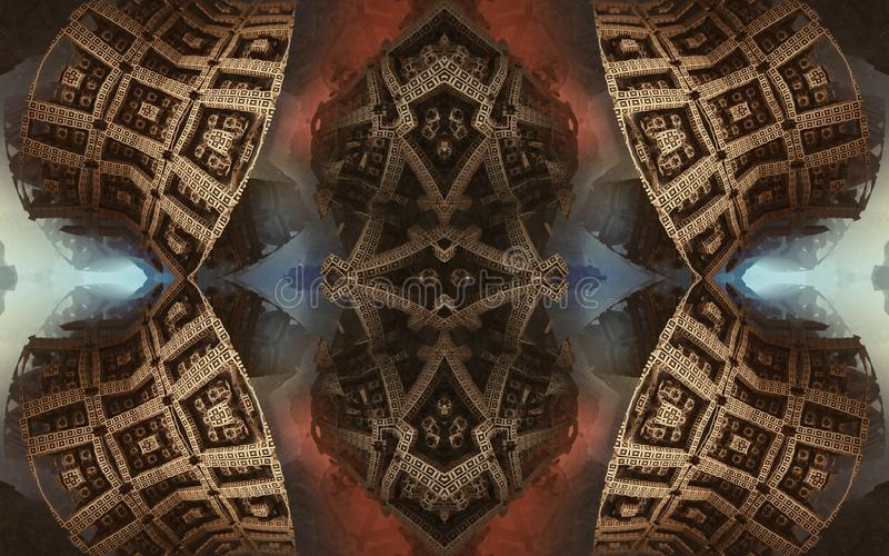 Epic abstract fantastic poster or background. Futuristic view from inside of the fractal. Pattern in form of arrows. royalty free stock image