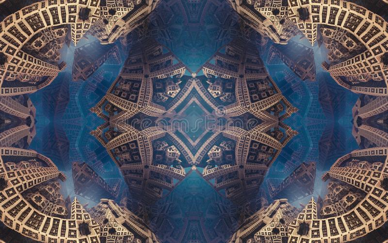 Epic abstract fantastic poster or background. Futuristic view from inside of the fractal. Pattern in form of arrows. royalty free stock photo