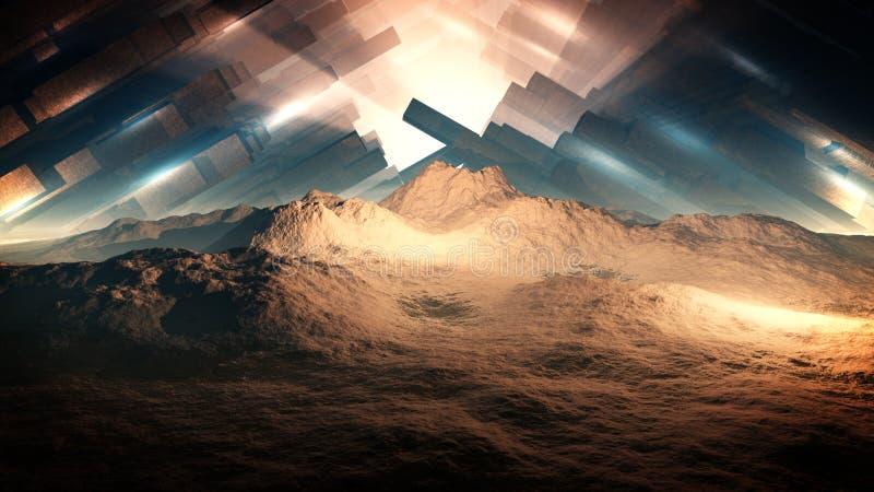Epic Alien Fortress In Arctic. Cinematic illustration of an epic alien fortress in arctic vector illustration