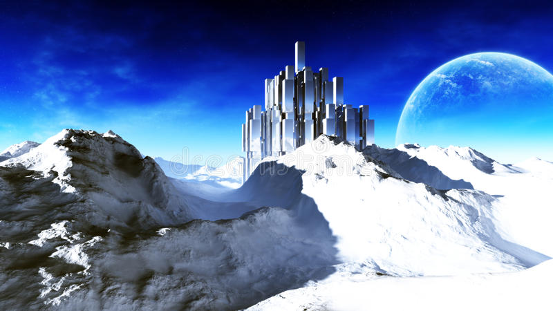 Epic Alien Fortress In Arctic. Cinematic illustration of an epic alien fortress in arctic area of a distant alien planet with its huge moon, clouds and dark blue vector illustration