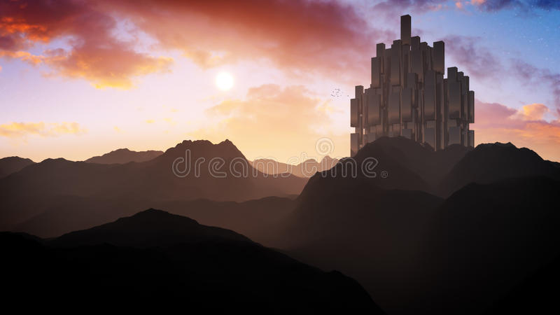 Epic Alien Fortress Sunset. Cinematic illustration an epic alien fortress in arctic area of a distant alien planet with its huge moon, clouds and dark blue sky vector illustration