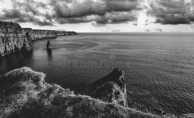Download epic black and white photograph of the world famous cliffs of mo stock image