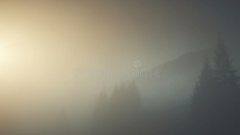 Epic chain hill forest slope landscape aerial view. Misty Evergreen Forest Mountain Scenery Wildlife Habitat Sight. Thick Fog Steep Rock Gorge Clean Ecology royalty free stock photography