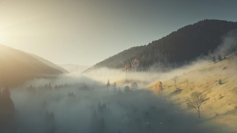 Epic chain hill forest slope landscape aerial view. Misty Evergreen Forest Mountain Scenery Wildlife Habitat Sight. Thick Fog Steep Rock Gorge Clean Ecology royalty free stock image
