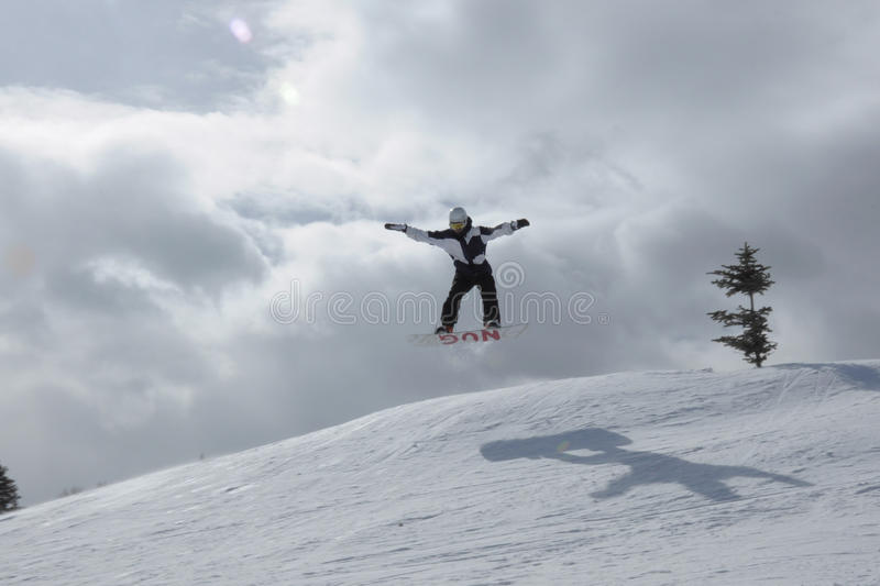 Epic Day Every Day: Snowboarding Beaver Creek, Vail Resorts, Eagle County, Avon, CO. Lorado. I believe I can Fly. Red Bull really does give you wings. Powder Day royalty free stock photo