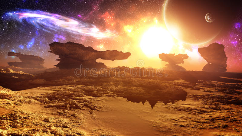 Epic Glorious Alien Planet Sunset With Galaxy. Glorious, majestic, epic sunset environment in an alien planet with extremely strange natural landscape structures stock illustration