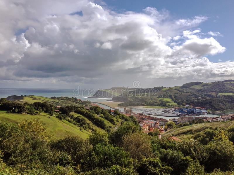 Epic landscape of the sea coast of Zumaia, with a dramatic sky, Basque Country, Northern coast of Spain. Epic landscape of the sea coast of Zumaia, Pais Basco royalty free stock image