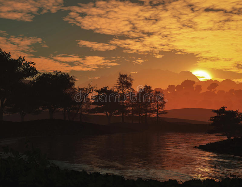 Epic landscape. With sunset river and clouds stock illustration