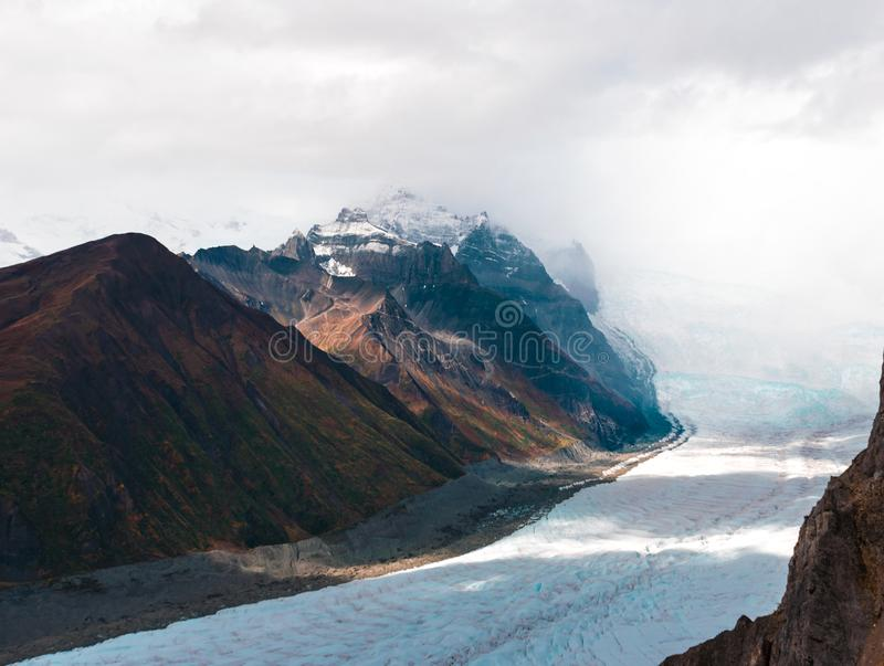 The epic mountains of the Wrangell St. Elias National stock photography