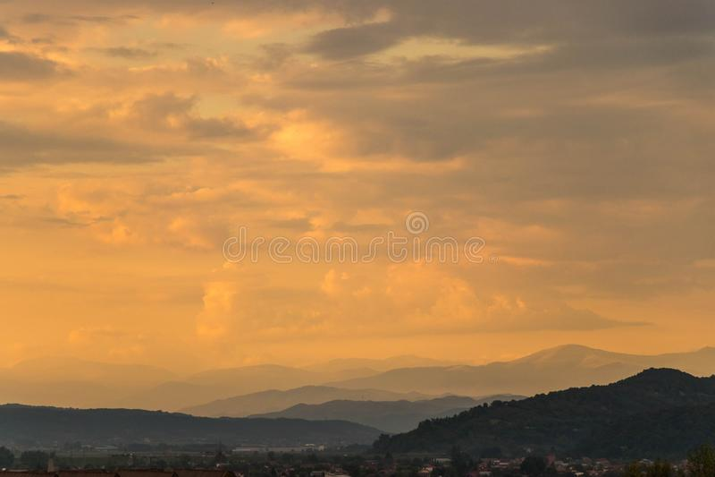 Epic orange sun set scene stock images