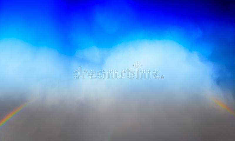 Epic rainbow in the cloudy sky clpudscape background royalty free stock photo