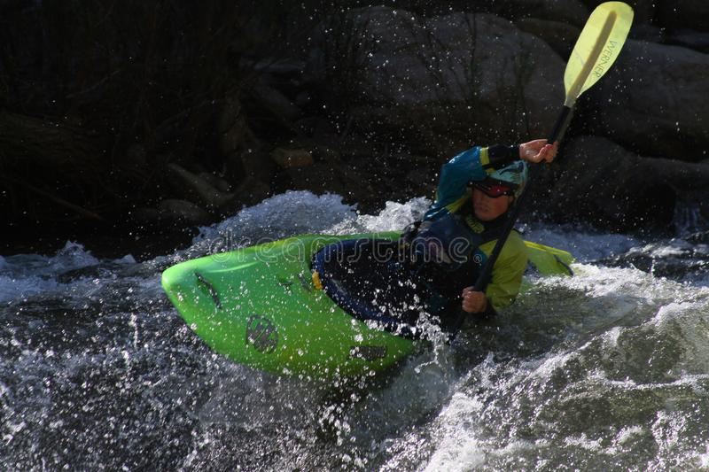 Epic Shoot of a Kayaker. This is a photo taker on the upper section of the Kern river on a class 4 rapid in Califonia stock photo