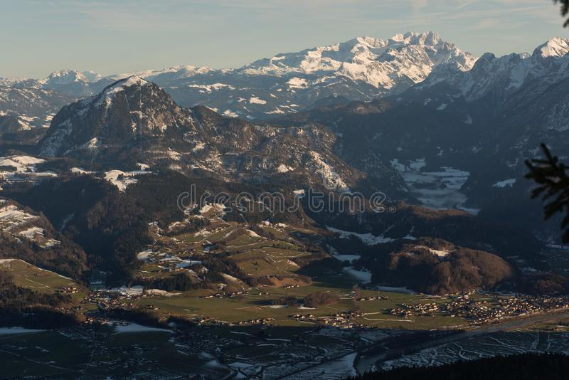 View from above Valley winter golling austria royalty free stock photography