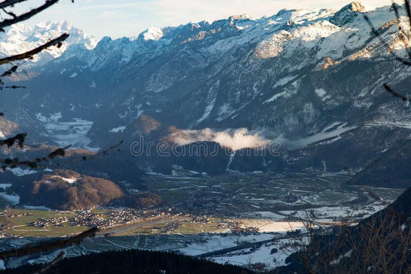 View from above Valley winter golling austria royalty free stock image
