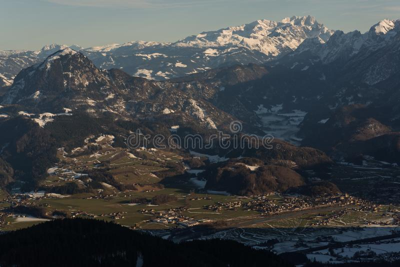 View from above Valley winter golling austria stock photos