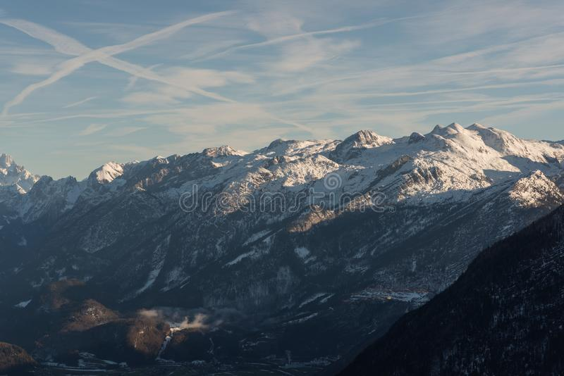 View from above Valley winter golling austria stock image