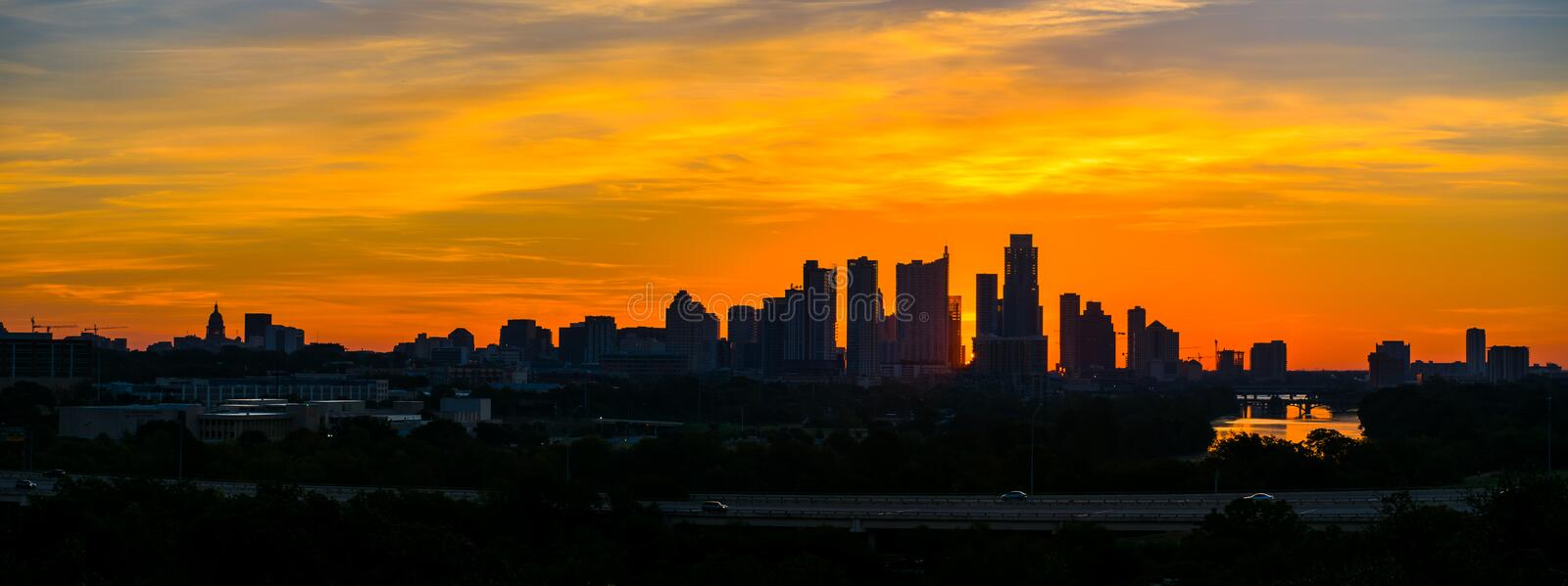 Epic sunrise Austin silhouette downtown skyline twilight stock image