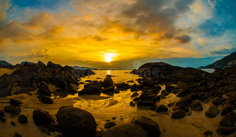 Epic sunset at low tide stock photos