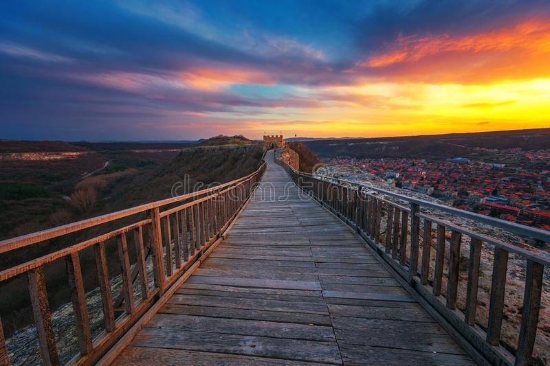 Epic sunset over medieval fortress Ovech near Provadia, Bulgaria royalty free stock image