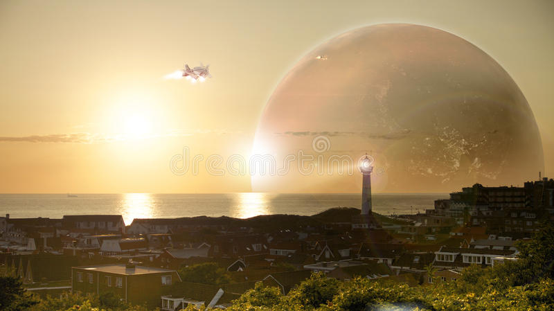 Starship / Spaceship Launch / Science Fiction Universe stock photo