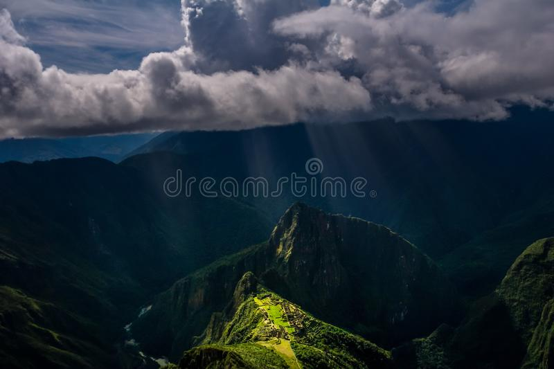 Epic and unique aerial view on the Machu Picchu / Huayna Picchu mountain stock images