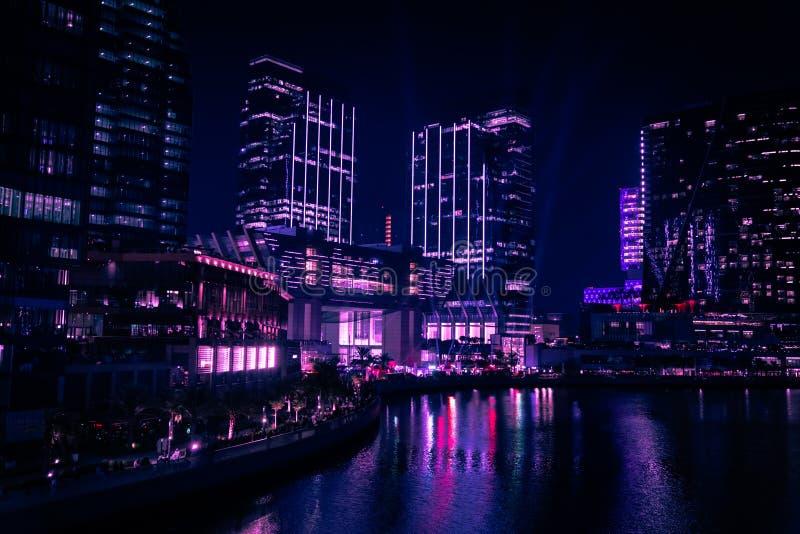 Epic view of city skyscrapers at night - Al Galleria Boutique galleria, Abu Dhabi city landmarks, UAE royaltyfria bilder