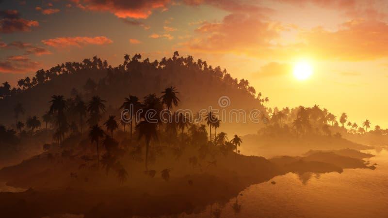 Epicki Tropikalny wyspa zmierzch royalty ilustracja